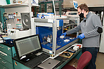 University of Rhode Island Research Assistant Professor, T.J. McGreevy, Jr., extracts mitochondrial DNA samples taken out of cheek swabs from New England cottontail rabbits trapped in Rhode Island.  McGreevy is using a robot to extract DNA from up to 99 individual samples at the same time. In this photo he is setting-up the various components of the robot in order to begin processing samples.