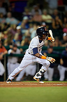 Bowling Green Hot Rods second baseman Vidal Brujan (2) follows through on a swing during a game against the Peoria Chiefs on September 15, 2018 at Bowling Green Ballpark in Bowling Green, Kentucky.  Bowling Green defeated Peoria 6-1.  (Mike Janes/Four Seam Images)