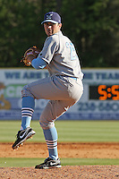 Barry Bowden #25 of the Wilmington Blue Rocks pitching against the Myrtle Beach Pelicans on April 11, 2010  in Myrtle Beach, SC.