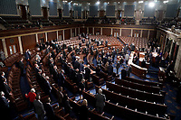 The House Chamber is seen during a joint session of Congress to count the Electoral College votes from the 2020 presidential election on Wednesday, January 6, 2021.<br /> Credit: Greg Nash / Pool via CNP/AdMedia
