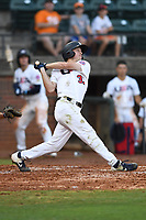 Kyle Teel (33) (Virginia) of Team Stars during a game against Team Stripes on July 6, 2021 at Pioneer Park in Greeneville, Tennessee. (Tracy Proffitt/Four Seam Images)