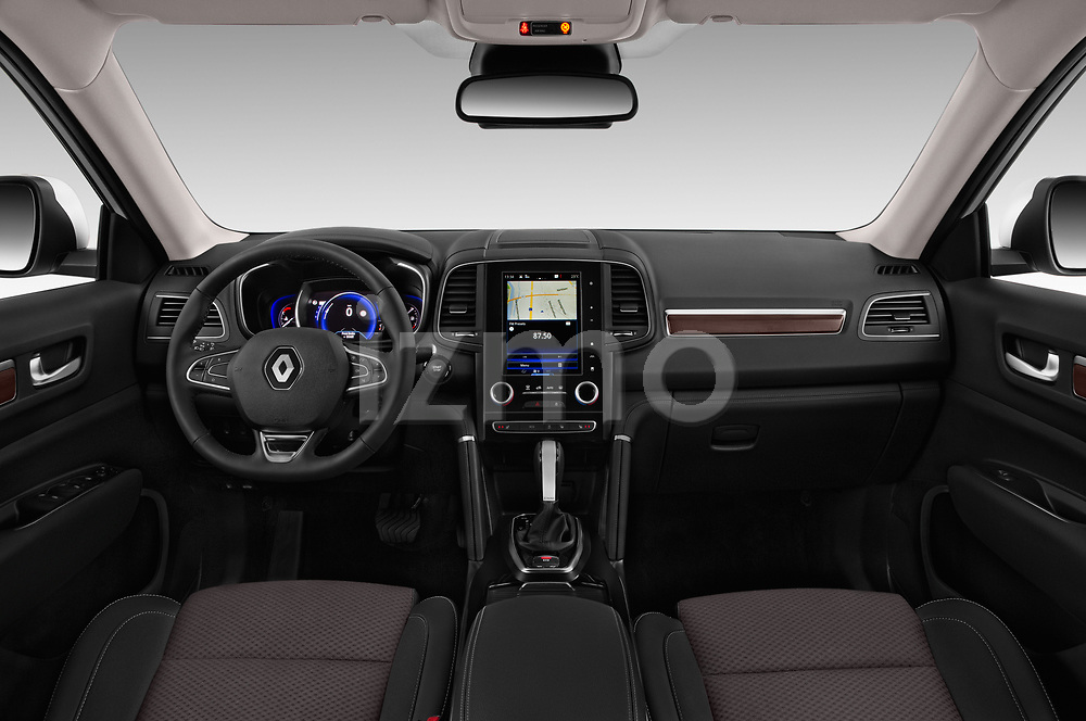 Stock photo of straight dashboard view of a 2018 Renault Koleos Intens 4wd 5 Door SUV