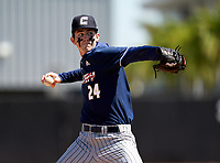 Calvary Christian Academy Eagles pitcher Andrew Painter (24) during a game against the IMG Academy Ascenders on March 13, 2021 at IMG Academy in Bradenton, Florida.  (Mike Janes/Four Seam Images)