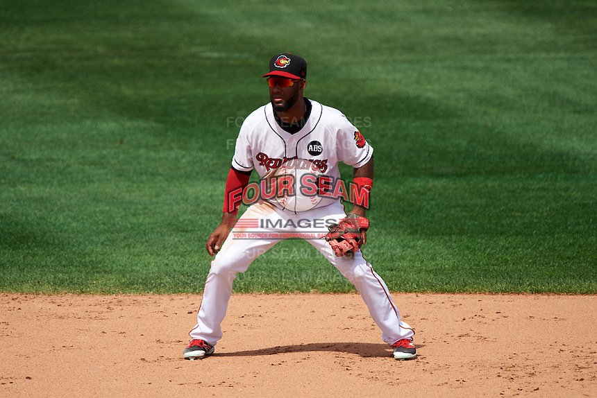 Rochester Red Wings second baseman Danny Santana (9) during a game against the Columbus Clippers on June 16, 2016 at Frontier Field in Rochester, New York.  Rochester defeated Columbus 6-2.  (Mike Janes/Four Seam Images)