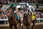 October 30, 2015: Stopchargingmaria with Javier Castellano up defeats Stellar Wind and Victor Espinoza to win the Breeders' Cup Distaff at Keeneland Race Track in Lexington, Kentucky. Evers/ESW/CSM