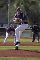 James Madison University pitcher Evan Scott #28 pitching during a game against the Boston College Eagles at Watson Stadium at Vrooman Field on February 18, 2012 in Conway, SC.  Boston College defeated James Madison 8-5.  (Robert Gurganus/Four Seam Images)