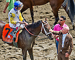 August 29, 2015 : Owner Charles Fipke gives his horse some love after Unbridled Forever, ridden by John Velazquez, wins the Ballerina Stakes on Travers Stakes Day at Saratoga Race Course in Saratoga Springs, NY. Scott Serio/ESW/CSM