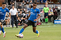 SAN JOSE, CA - AUGUST 13: Jeremy Ebobisse #11 of the San Jose Earthquakes dribbles the ball during a game between San Jose Earthquakes and Vancouver Whitecaps at PayPal Park on August 13, 2021 in San Jose, California.