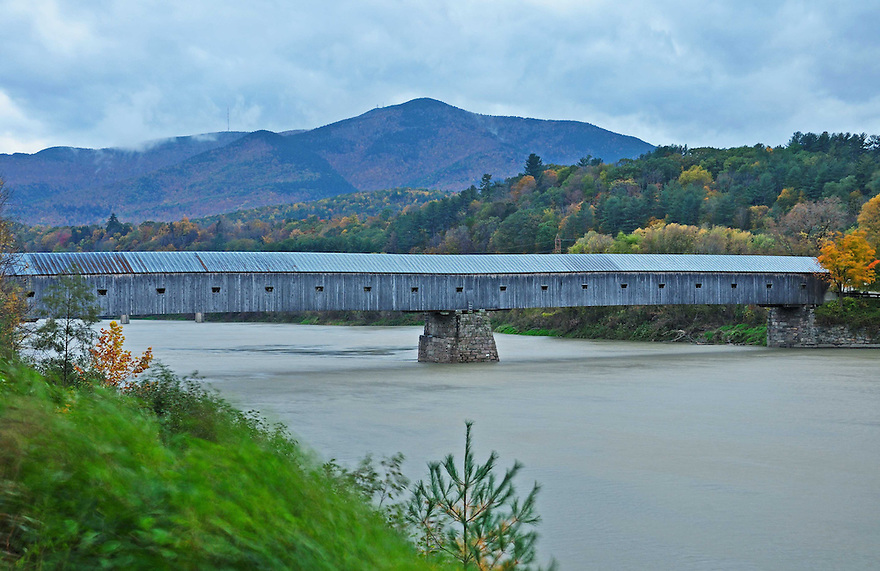 The long, strong Cornish-Windsor Covered Bridge spanning the Connecticut River.