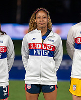 ORLANDO, FL - FEBRUARY 24: Casey Krueger #2 of the USWNT stands for the national anthem before a game between Argentina and USWNT at Exploria Stadium on February 24, 2021 in Orlando, Florida.