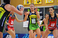 Pulse's Whitney Souness takes a pass during the ANZ Premiership netball match between Central Pulse and Mainland Tactix at Te Rauparaha Arena in Wellington, New Zealand on Friday, 9 July 2021. Photo: Dave Lintott / lintottphoto.co.nz