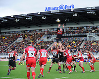 20130303 Copyright onEdition 2013©.Free for editorial use image, please credit: onEdition..Ernst Joubert of Saracens wins a lineout during the Premiership Rugby match between Saracens and London Welsh at Allianz Park on Sunday 3rd March 2013 (Photo by Rob Munro)..For press contacts contact: Sam Feasey at brandRapport on M: +44 (0)7717 757114 E: SFeasey@brand-rapport.com..If you require a higher resolution image or you have any other onEdition photographic enquiries, please contact onEdition on 0845 900 2 900 or email info@onEdition.com.This image is copyright onEdition 2013©..This image has been supplied by onEdition and must be credited onEdition. The author is asserting his full Moral rights in relation to the publication of this image. Rights for onward transmission of any image or file is not granted or implied. Changing or deleting Copyright information is illegal as specified in the Copyright, Design and Patents Act 1988. If you are in any way unsure of your right to publish this image please contact onEdition on 0845 900 2 900 or email info@onEdition.com