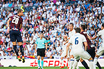 Real Madrid's player Cristiano Ronaldo and Nacho Fernandez and Eibar FC's player Florian Lejeune during a match of La Liga Santander at Santiago Bernabeu Stadium in Madrid. October 02, Spain. 2016. (ALTERPHOTOS/BorjaB.Hojas)