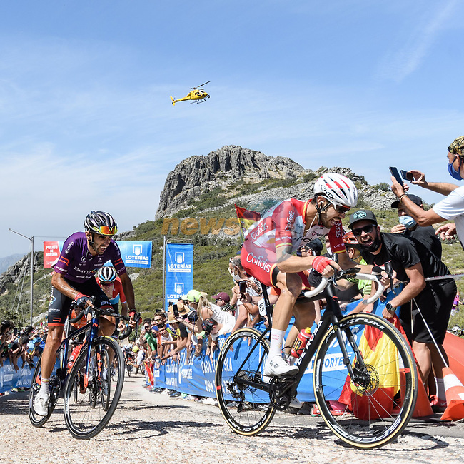 Jesus Herrada (ESP) Cofidis and Dani Navarro (ESP) Burgos-BH from the breakaway during Stage 14 of La Vuelta d'Espana 2021, running 165.7km from Don Benito to Pico Villuercas, Spain. 28th August 2021.     <br /> Picture: Unipublic/Charly Lopez | Cyclefile<br /> <br /> All photos usage must carry mandatory copyright credit (© Cyclefile | Charly Lopez/Unipublic)