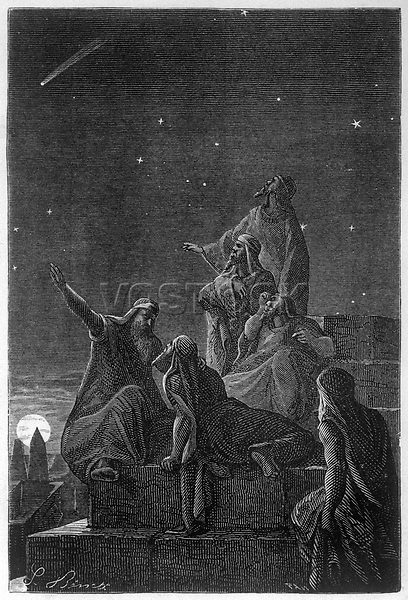 Astronomer-priests of Chaldea observe stars from the Tower of Babylon (Babel)     Date: BC     Source: Benett in Flammarion Histoire du ciel page 65