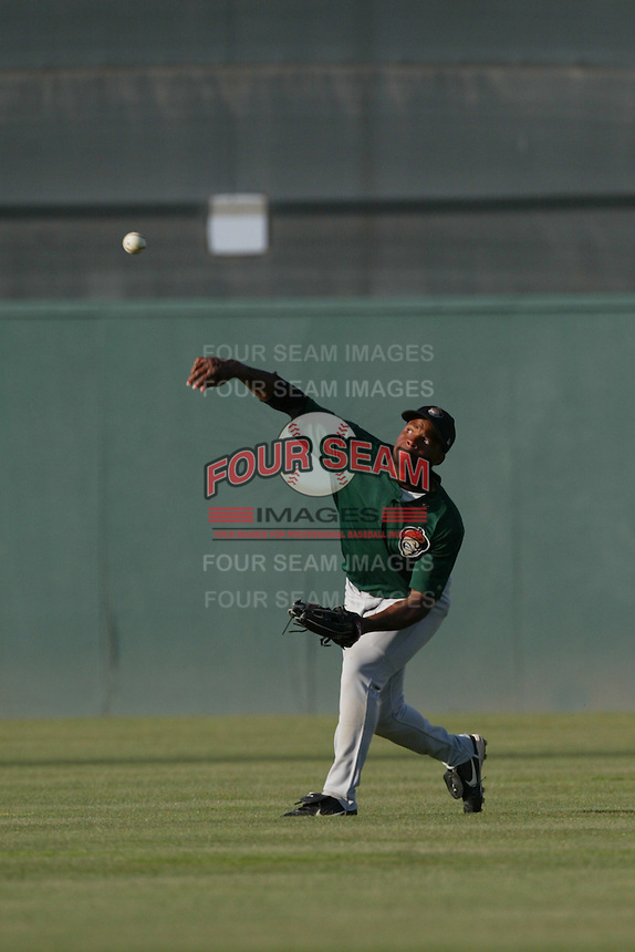 Tony Miller of the Visalia Oaks throws in the outfield before a game against the Lancaster JetHawks at The Hanger on May 20, 2003 in Lancaster, California. (Larry Goren/Four Seam Images)