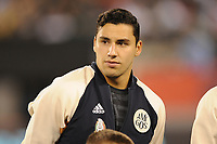 EAST RUTHERFORD, NJ - SEPTEMBER 7: Jorge Sanchez #21 of Mexico during the presentation of the team during a game between Mexico and USMNT at MetLife Stadium on September 6, 2019 in East Rutherford, New Jersey.