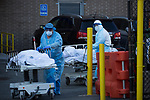 Healthcare workers wheel deceased people to a refrigerated trailer serving as a temporary morgue outside of Wyckoff Heights Medical Center during the coronavirus pandemic on April 6, 2020 in New York City.  More than 10,000 people have died from COVID-19 in the U.S..  Photograph by Michael Nagle