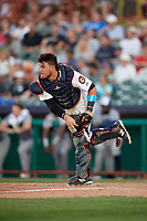 Tri-City ValleyCats catcher Oscar Campos (2) throws down to second base during a game against the Vermont Lake Monsters on June 16, 2018 at Joseph L. Bruno Stadium in Troy, New York.  Vermont defeated Tri-City 6-2.  (Mike Janes/Four Seam Images)