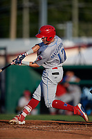 Clearwater Threshers Simon Muzziotti (12) hits a home run during a Florida State League game against the Dunedin Blue Jays on May 11, 2019 at Jack Russell Memorial Stadium in Clearwater, Florida.  Clearwater defeated Dunedin 9-3.  (Mike Janes/Four Seam Images)