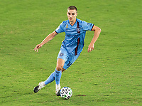 WASHINGTON, DC - SEPTEMBER 06: James Sands #16 of New York City FC dribbles during a game between New York City FC and D.C. United at Audi Field on September 06, 2020 in Washington, DC.