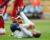 Peter Crouch of England reacts after missing an easy chance. England defeated Trinidad & Tobago 2-0 in their FIFA World Cup group B match at Franken-Stadion, Nuremberg, Germany, June 15 2006.
