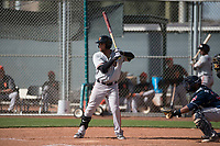 San Francisco Giants second baseman Kevin Rivera (15) at bat during a Minor League Spring Training game against the Cleveland Indians at the San Francisco Giants Training Complex on March 14, 2018 in Scottsdale, Arizona. (Zachary Lucy/Four Seam Images)