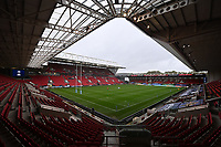 30th September 2020; Ashton Gate Stadium, Bristol, England; Premiership Rugby Union, Bristol Bears versus Leicester Tigers; general view of Ashton Gate Stadium empty of fans before kick off due to the pandemic