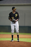 Bristol Pirates relief pitcher Yeudry Manzanillo (35) gets ready to deliver a pitch during a game against the Bluefield Blue Jays on July 26, 2018 at Bowen Field in Bluefield, Virginia.  Bristol defeated Bluefield 7-6.  (Mike Janes/Four Seam Images)