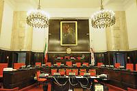 - Palazzo Marino, costruito fra il 1557 ed il 1563, dal 1861 storica sede del Comune di Milano; la sala del Consiglio <br /> <br /> - Palazzo Marino, built between 1557 and 1563, from 1861 historic home of the Milan Municipality; the Council room