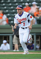 Head coach Jack Leggett (7) of the Clemson Tigers in a game against the Elon College Phoenix on March 21, 2012, at Fluor Field at the West End in Greenville, South Carolina. Clemson won 4-2, giving head coach Leggett his 1,200th win. (Tom Priddy/Four Seam Images)