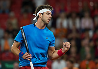 The Hague, The Netherlands, September 15, 2017,  Sportcampus , Davis Cup Netherlands - Chech Republic, First rubber: Jiri Vesely (CZE) pumps himself<br /> Photo: Tennisimages/Henk Koster