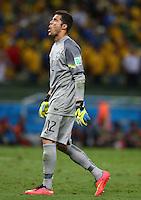 Brazil goalkeeper Julio Cesar pulls a face