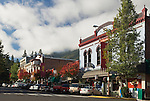 Shops and restaurants on Lithia Plaza at junction with Main Street; Ashland, Oregon..#0510398