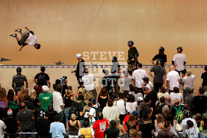 A skateboarder competes in the Men's Skateboarding Vert finals at the Staples Center during X-Games 12 in Los Angeles, California on August 3, 2006.