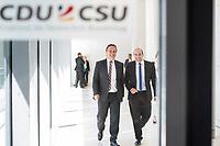 Hans-Peter Friedrich (links im Bild) und Florian Ossner (rechts), beide CSU, nach waehrend einer ausserordentlichen Sitzung der CDU/CSU-Fraktion nachdem es zwischen der CDU und der CSU zum Streit ueber den Umgang mit Fluechtlingen gab. Die Sitzung des Deutschen Bundestag wurde aufgrund dieses Streit auf Antrag der CDU/CSU-Fraktion fuer mehrere Stunden unterbrochen. Die Fraktionen von CDU und CSU tagten getrennt.<br /> 14.6.2018, Berlin<br /> Copyright: Christian-Ditsch.de<br /> [Inhaltsveraendernde Manipulation des Fotos nur nach ausdruecklicher Genehmigung des Fotografen. Vereinbarungen ueber Abtretung von Persoenlichkeitsrechten/Model Release der abgebildeten Person/Personen liegen nicht vor. NO MODEL RELEASE! Nur fuer Redaktionelle Zwecke. Don't publish without copyright Christian-Ditsch.de, Veroeffentlichung nur mit Fotografennennung, sowie gegen Honorar, MwSt. und Beleg. Konto: I N G - D i B a, IBAN DE58500105175400192269, BIC INGDDEFFXXX, Kontakt: post@christian-ditsch.de<br /> Bei der Bearbeitung der Dateiinformationen darf die Urheberkennzeichnung in den EXIF- und  IPTC-Daten nicht entfernt werden, diese sind in digitalen Medien nach ß95c UrhG rechtlich geschuetzt. Der Urhebervermerk wird gemaess ß13 UrhG verlangt.]