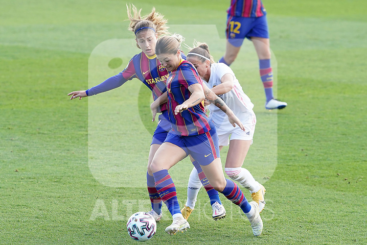 First official match and first classic in the history of women's Real Madrid.<br /> Real Madrid's Kosovare Asllani (r) and FC Barcelona's Alexia Putellas (l) and Mapi Leon during Spanish Female League match. October 4,2020. (ALTERPHOTOS/Acero)
