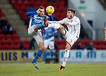 St Johnstone v Ross County… McDiarmid Park..     SPFL<br />Paul Paton and Christopher Routis<br />Picture by Graeme Hart.<br />Copyright Perthshire Picture Agency<br />Tel: 01738 623350  Mobile: 07990 594431
