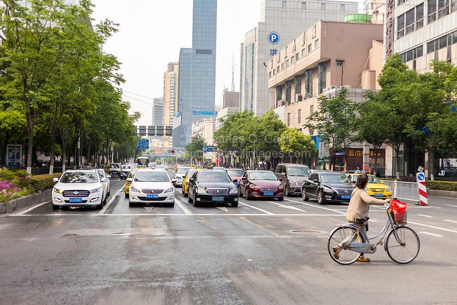 Yangzhou, Jiangsu, China.  Urban Street Traffic.