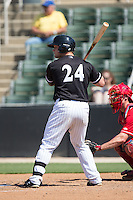 Zach Fish (24) of the Kannapolis Intimidators at bat against the Lakewood BlueClaws at Kannapolis Intimidators Stadium on May 8, 2016 in Kannapolis, North Carolina.  The Intimidators defeated the BlueClaws 3-2.  (Brian Westerholt/Four Seam Images)
