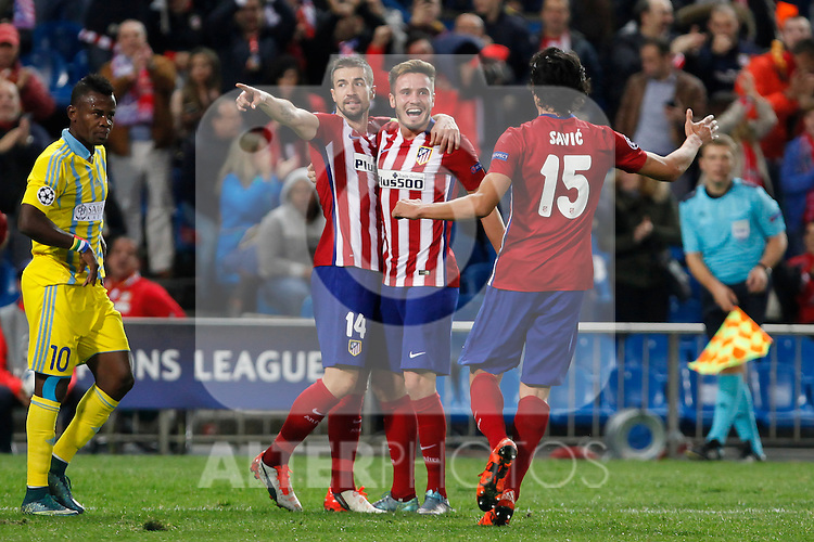 Atletico de Madrid´s players celebrate Saul Niguez´s goal during Champions League soccer match between Atletico de Madrid and FC Astana at Vicente Calderon stadium in Madrid, Spain. October 21, 2015. (ALTERPHOTOS/Victor Blanco)