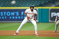Wendell Champion II (25) of the Houston Cougars takes his lead off of first base against the Kentucky Wildcats in game two of the 2018 Shriners Hospitals for Children College Classic at Minute Maid Park on March 2, 2018 in Houston, Texas.  The Wildcats defeated the Cougars 14-2 in 7 innings.   (Brian Westerholt/Four Seam Images)