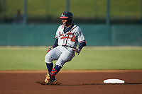 Justin Dean (5) of the Rome Braves puts on the brakes as he rounds second base after hitting a double against the Kannapolis Intimidators at Kannapolis Intimidators Stadium on July 2, 2019 in Kannapolis, North Carolina.  The Intimidators walked-off the Braves 5-4. (Brian Westerholt/Four Seam Images)