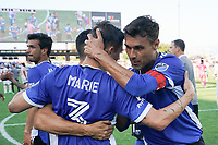 SAN JOSE, CA - AUGUST 8: Paul Marie #3 celebrates with Chris Wondolowski #8 of the San Jose Earthquakes during a game between Los Angeles FC and San Jose Earthquakes at PayPal Park on August 8, 2021 in San Jose, California.