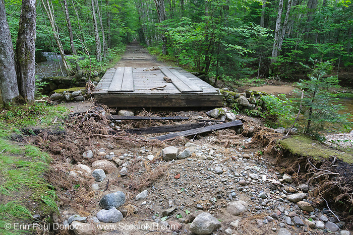 Trail washout at the Birch Island Brook crossing along the Lincoln Woods Trail in Lincoln, New Hampshire from Tropical Storm Irene in 2011. This tropical storm caused severe damage along the East Coast of the United States and the White Mountain National Forest of New Hampshire was officially closed during the storm.