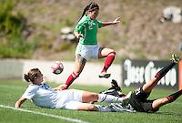 Abby Wambach tries to slip the ball past Mexico's Leticia Villalpando (2) and goalkeeper Pamela Tajonar..USA 3-0 over Mexico in San Diego, California, Sunday, March 28, 2010.