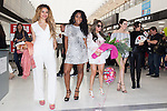 (L to R) Dina-Jane Hansen, Normani Hamilton, Ally Brooke, Lauren Jauregui and Camila Cabello, members of the American five-piece girl group Fifth Harmony, pose for the cameras upon their arrival at Narita International Airport on July 7, 2016, Chiba, Japan. Fifth Harmony are in Japan for the first time to promote their new song Work from Home. Fifth Harmony flew 25 hours from Sau Paulo to Japan after finishing their tour of South America. (Photo by Rodrigo Reyes Marin/AFLO)