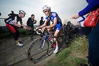Yoann Offredo (FRA/FDJ) up the Paterberg (max 20%)<br /> <br /> 57th E3 Harelbeke 2014