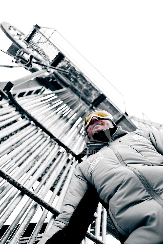 Challenge Mer et Montagne 2012, Saint Gervais les Bains, Mont Blanc, Haute Savoie, France..Ski Super Geant..Romain Attanasio