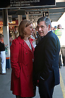 Prime Minister and Labour Party leader Gordon Brown and his wife Sarah wait for a train to take them back to London at a station in Southampton.